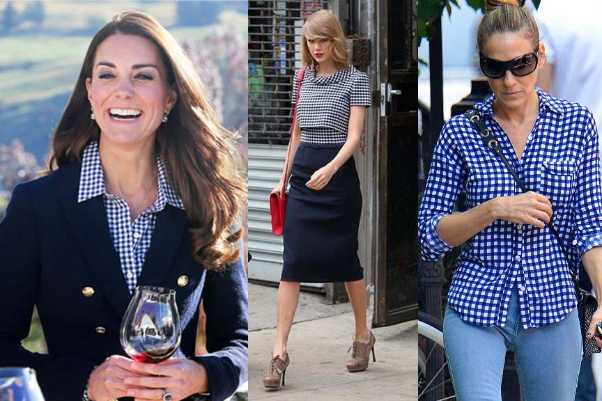 Womans celebs gingham shirt fashion