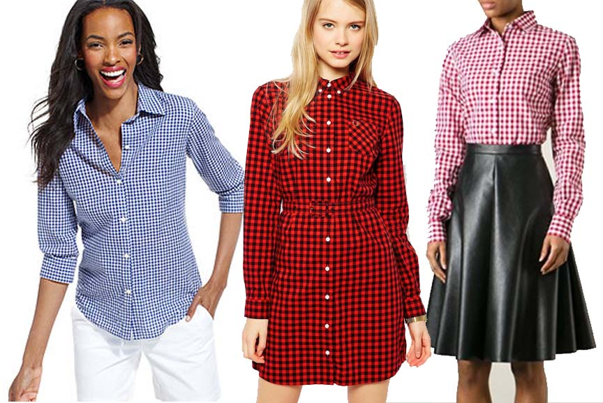Womans gingham shirt fashion