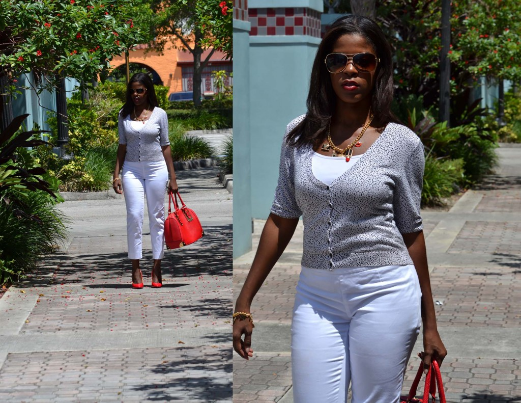 White pants red shoes and bag double