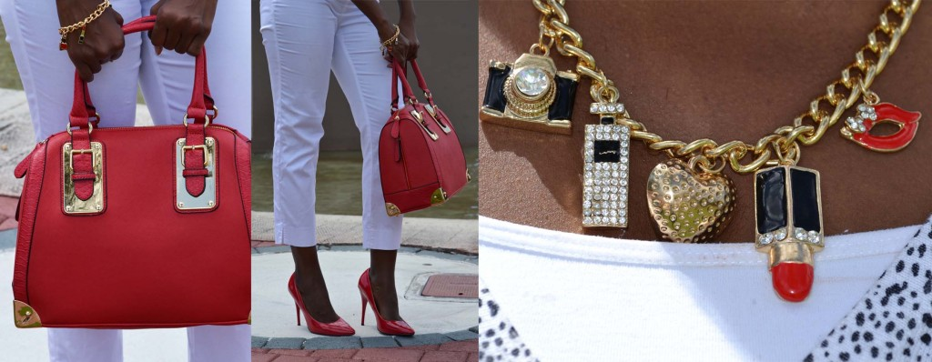 White pants red shoes and bag tripple