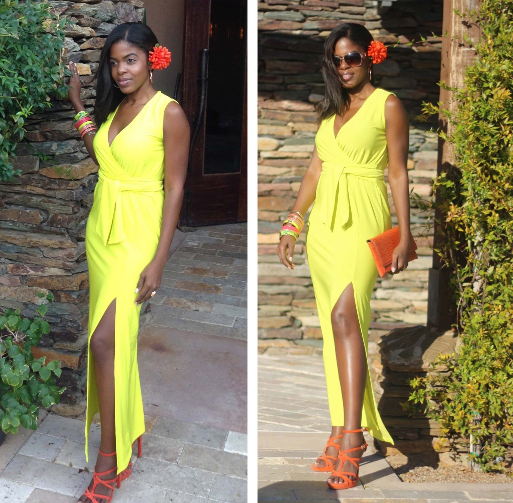 Lime green neon yellow dress orange shoes collage2