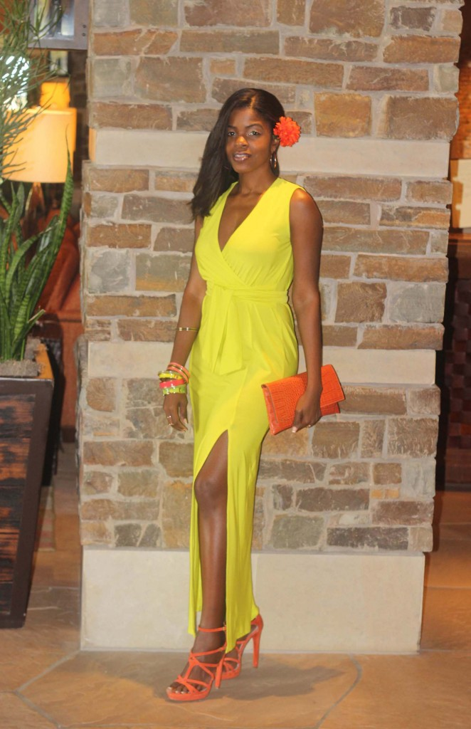 Lime green neon yellow dress orange shoes single2