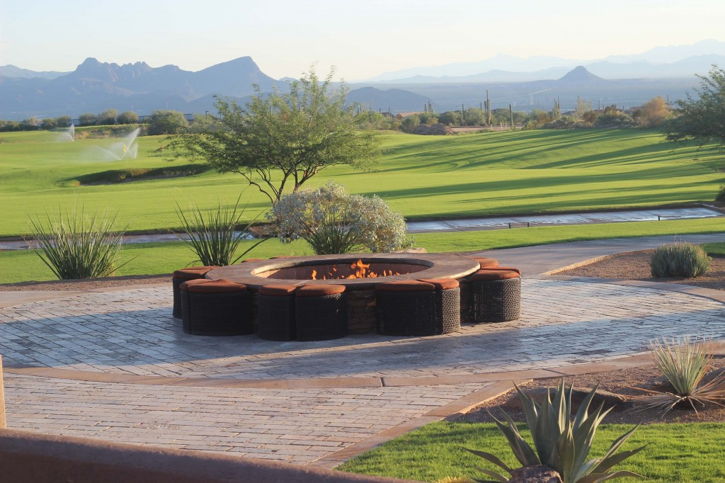 Scenic rustic wedding fire pit Tucson Arizona Ritz Carlton