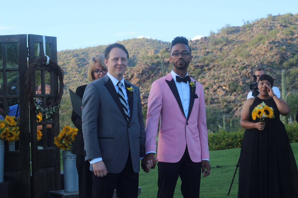 pink tuxedo gay wedding Arizona Ritz Carlton