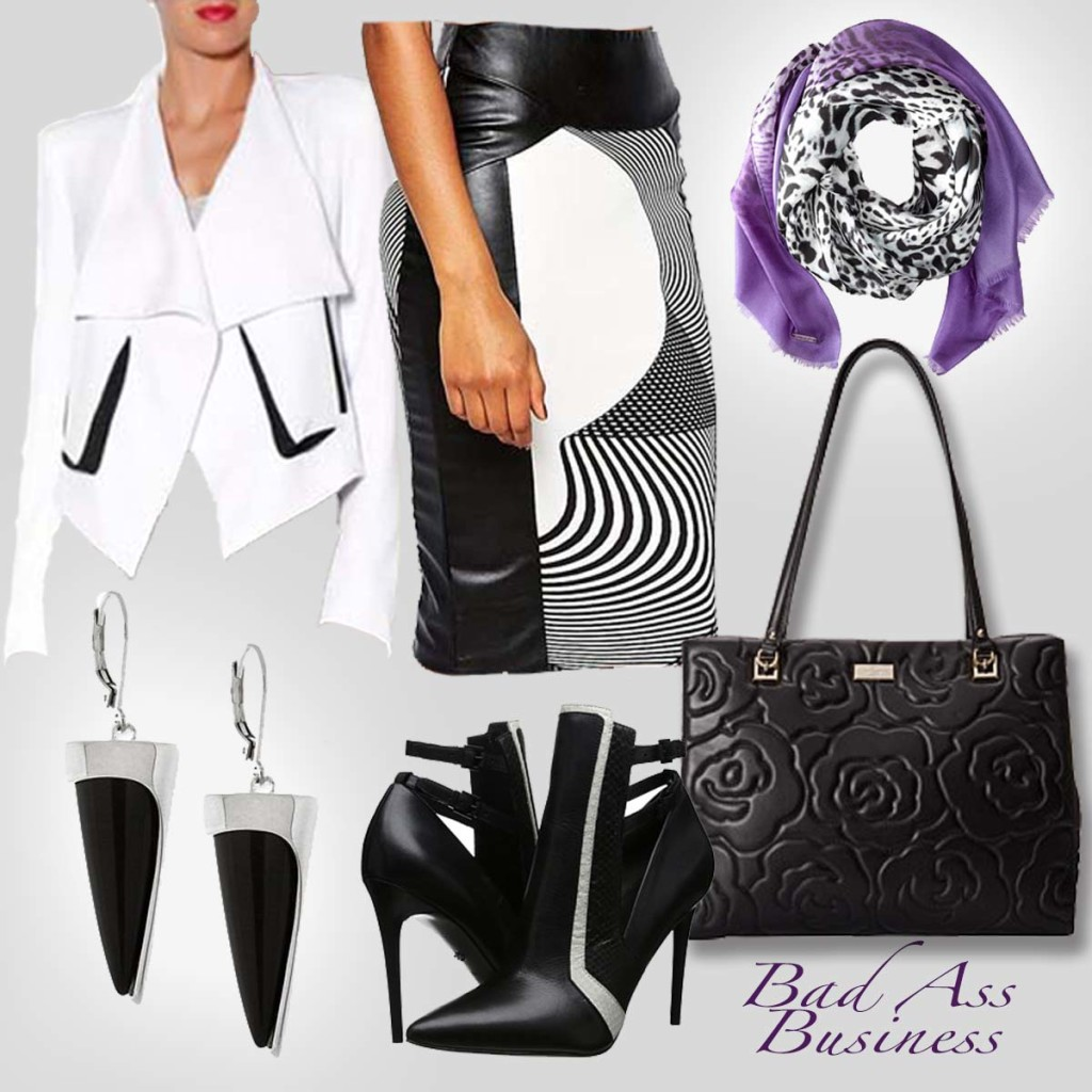 Bad Ass Business black and white work look with purple