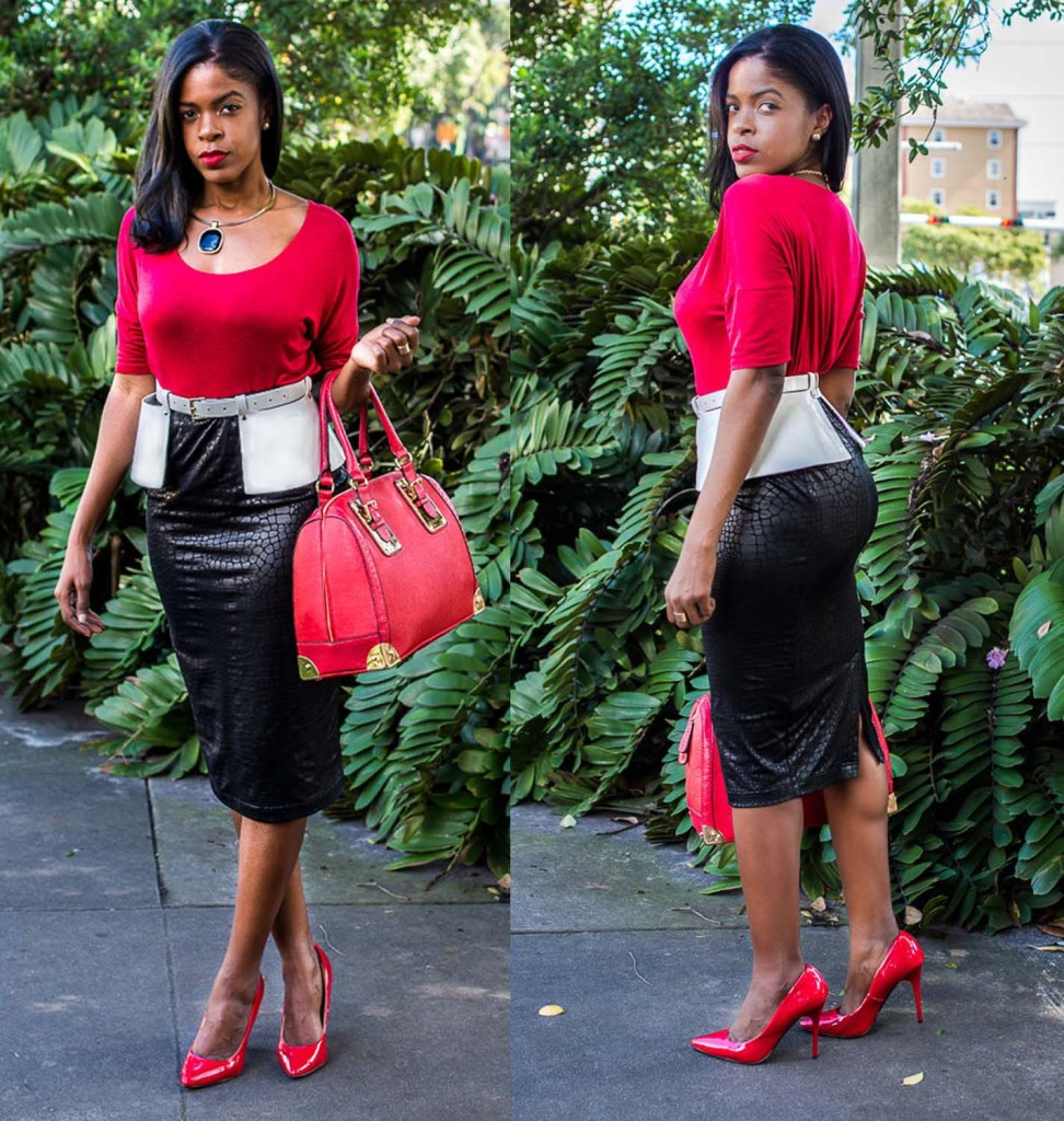 vogue outfit red pumps heels collage