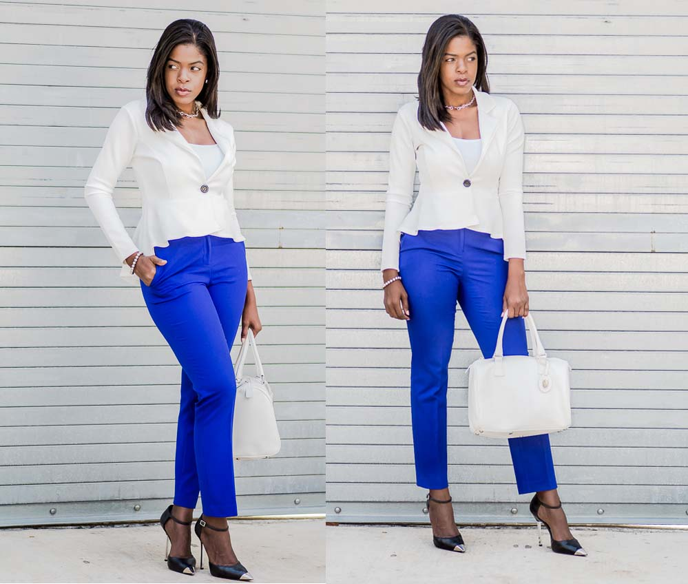 white peplum blazer ankle pants tiffanys double stance
