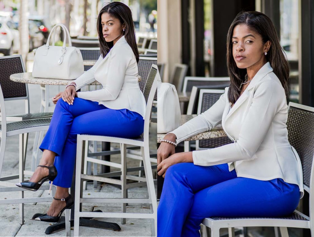 white peplum blazer purple ankle pants seated