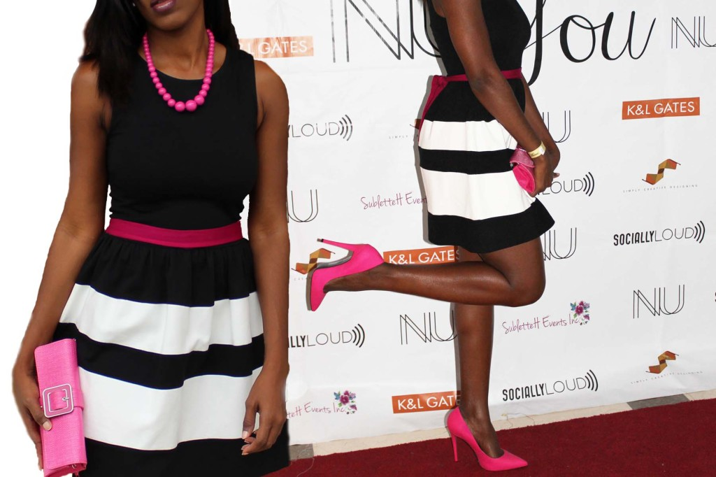Black and white stripe skater dress pink heels collage