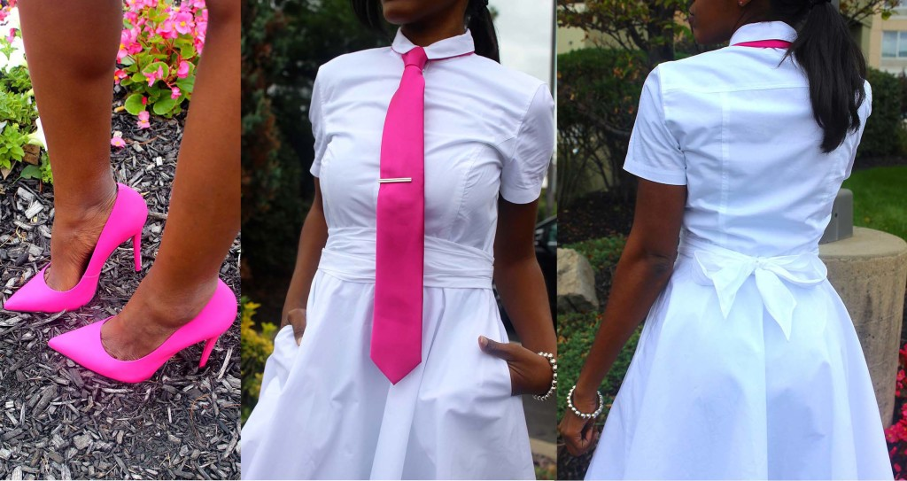 Pink Tie White Shirt Dress collage