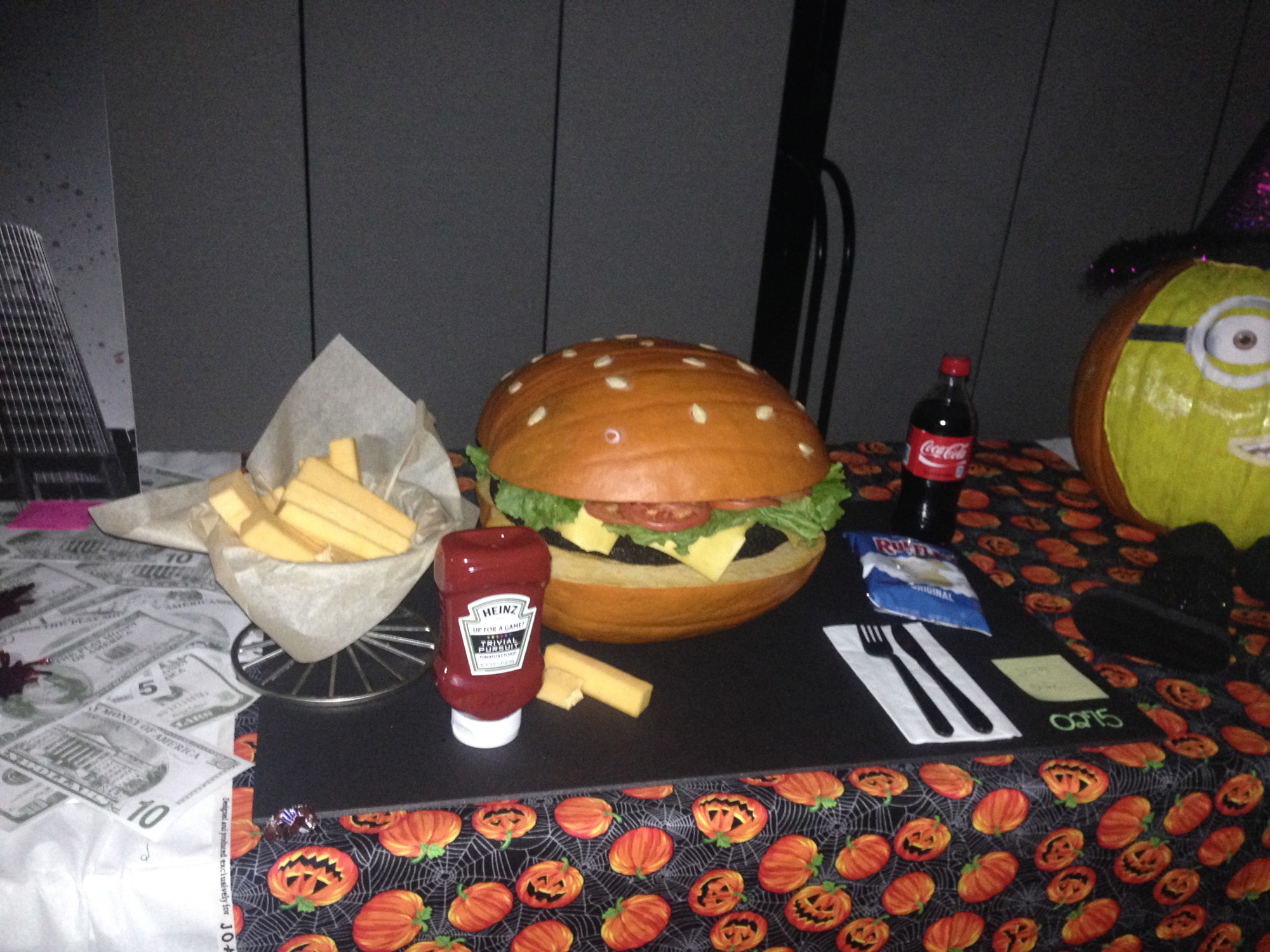 6904 Office Halloween Pumpkin carving burger