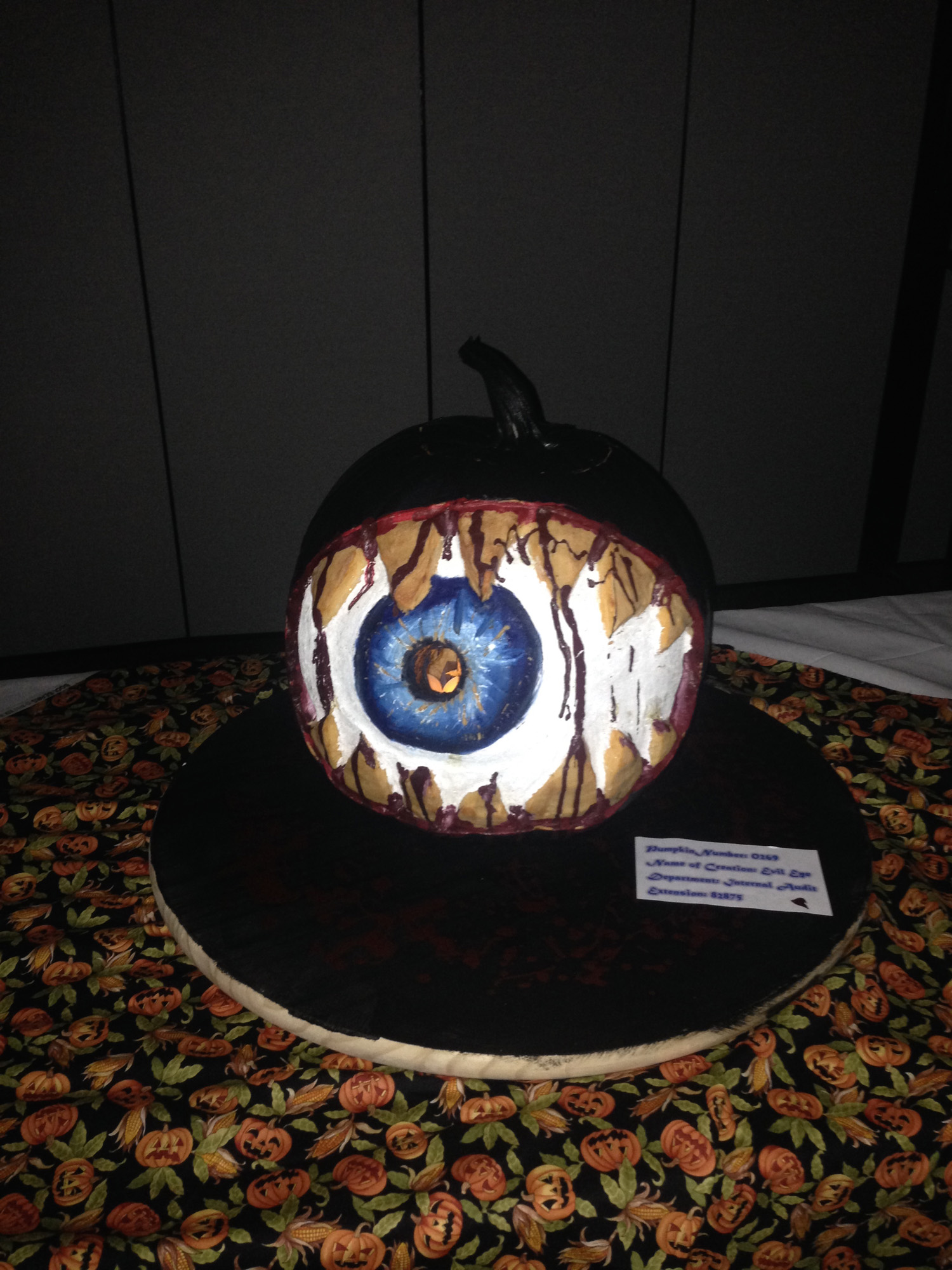 6908 Office Halloween pumpkin carving eyeball