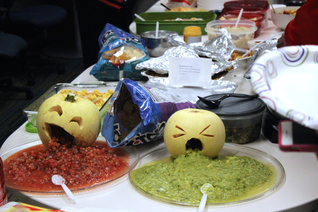 9720 Office Halloween food throw up guac