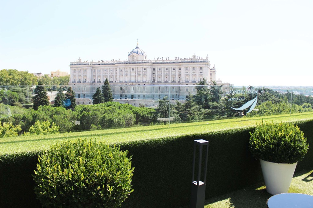 Palace and Sabatini Gardens view madrid