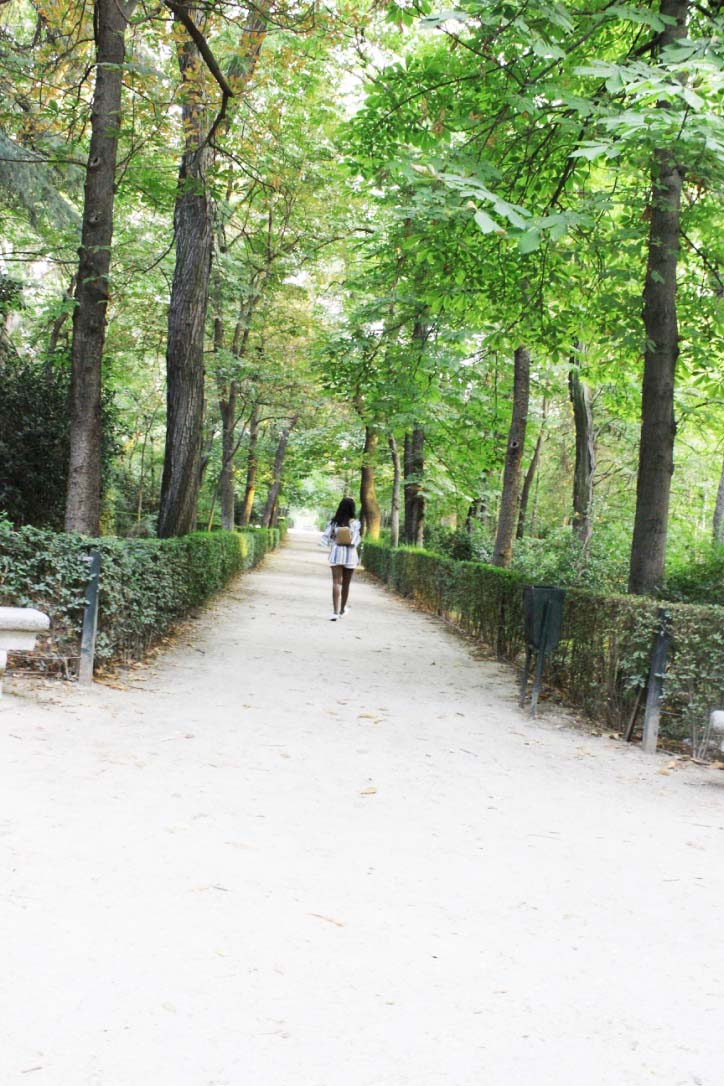 Walking down the Path at Buen Retiro Park